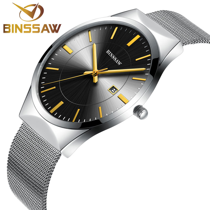 BINSSAW Men Quartz Watch Luxury Top Brand Fashion Mesh Delicate Ultra-thin Business Watch Full Stainless Steel Men Wrist Watches