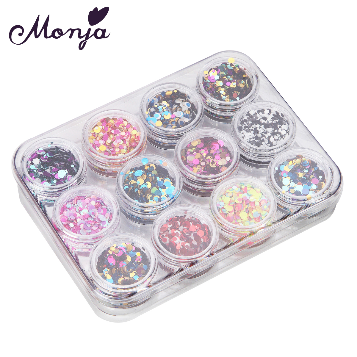 12 Random Mix Color 1-3mm Nail Art Laser Dot Foil Sequins Set Mermaid Style French Round Ultrathin Paillette Decor Palette Slice rhombus style 12 in 1 decorative nail art laser sequins set multicolored