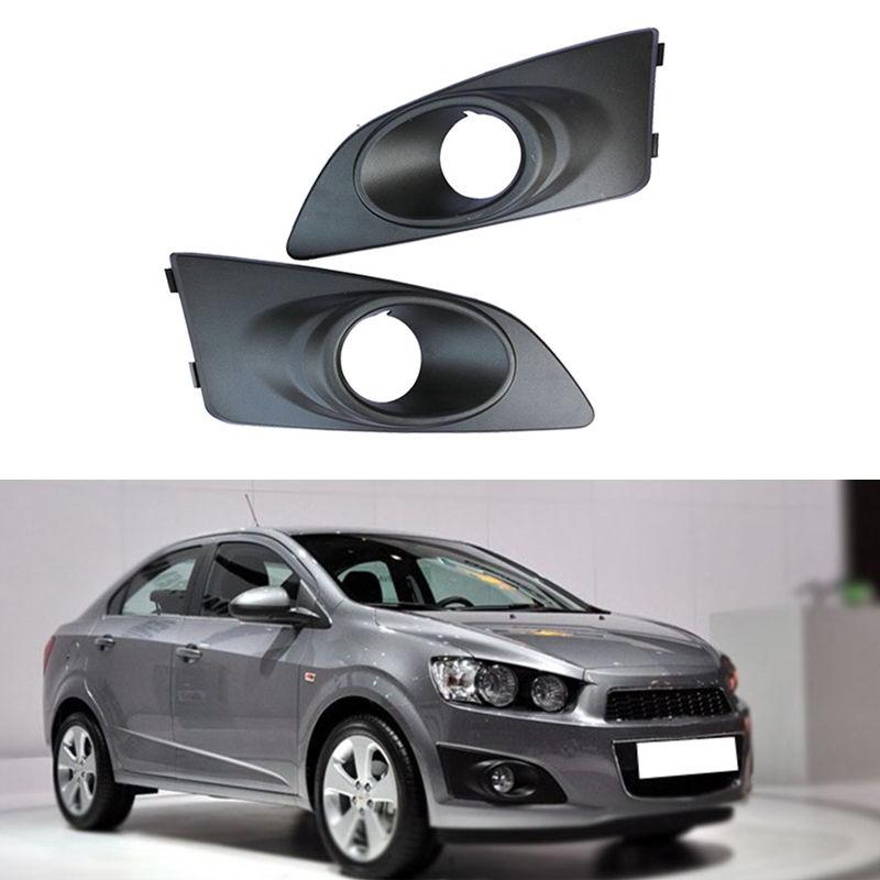 JanDeNing 2pcs Kit Car New Black Front Left + Right Bumper Fog Light Lamp Cover Grille Fit for Chevrolet Aveo/Sonic 2011 2014
