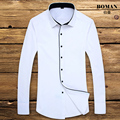 Hot 2016 Brand Long Sleeve Man Shirt White Slim Formal Business Affair Fashion Solid Male Dress Shirts Warm High Quality