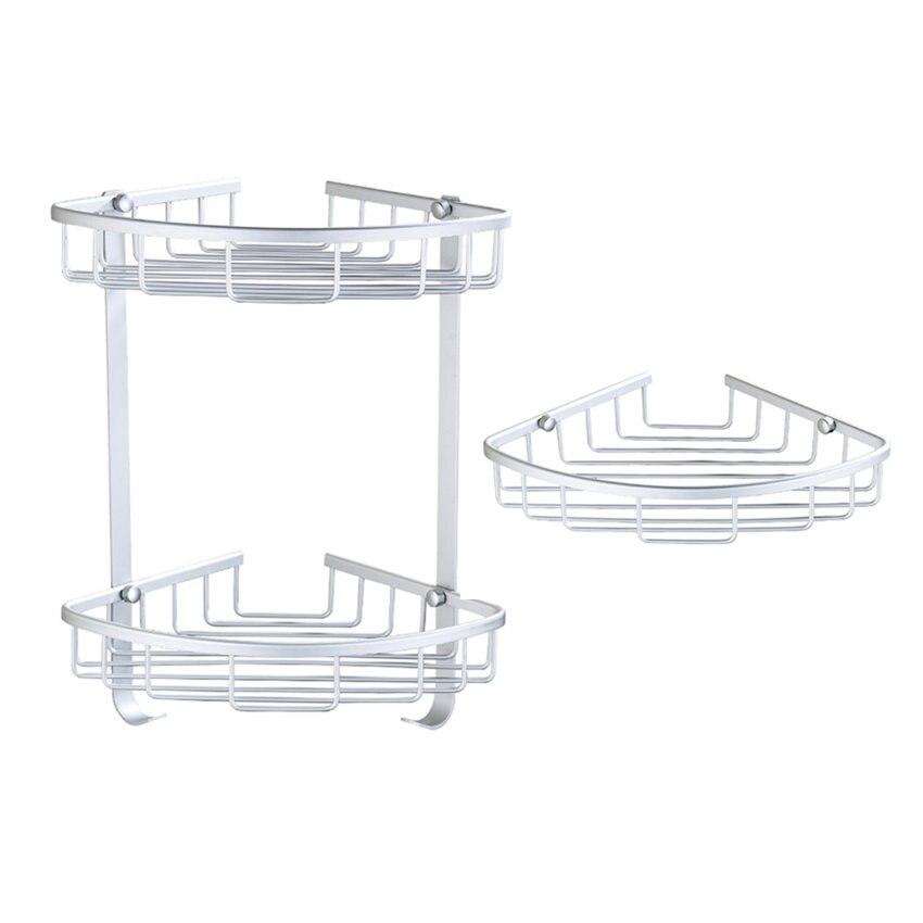 shower caddy bathroom corner shelf storage basket holder decor aluminum storage etagere salle de