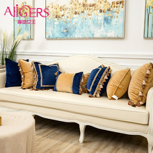 Avigers Luxury Velvet Embroidery Cushion Covers with Tassels Patchwork Decorative Pillows Throw Pillow Cases Blue Orange