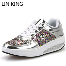 Купить с кэшбэком LIN KING Bling Wedges Swing Shoes For Women Height Increasing Platform Shoes Thick Sole Shallow Outdoor Sneakers Tenis Feminino
