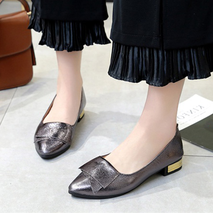 Plus Size Women Flats Pointed Toe Slip on Shoes Woman Dress Shoes Gold Heel Boat Shoes Low Heel Ladies Shoes Zapatos Mujer N7054 slip-on shoe