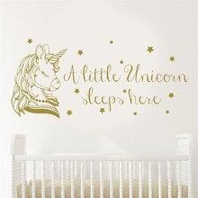 A Little Unicorn Sleeps Here Vinyl Quote Wall Sticker Nursery Girls Decals Art Home Decor Baby Room Cartoon Removable Mural BO60