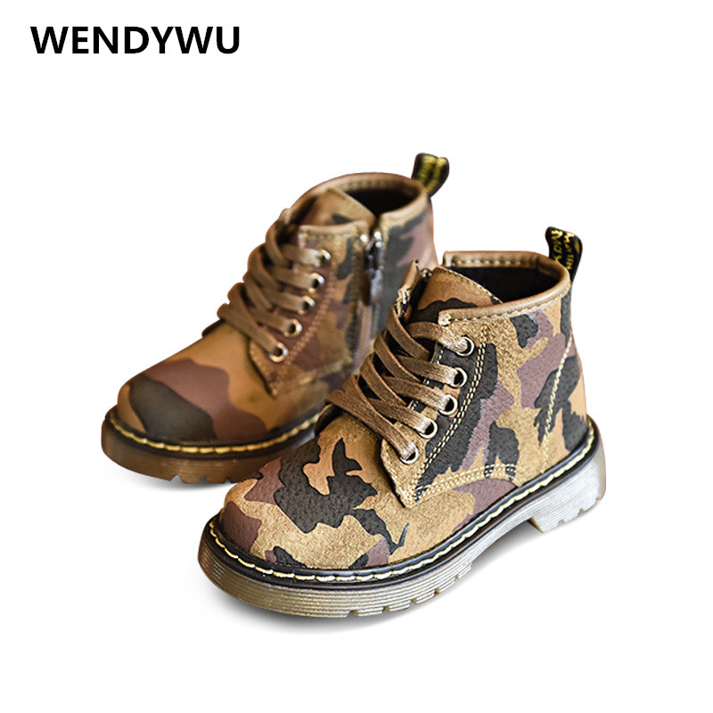 WENDYWU autumn winter toddler genuine leather shoes for baby boys ankle boots girls fashion boots children martin boots
