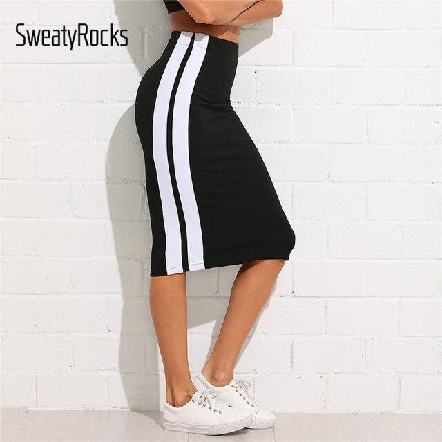 SweatyRocks контраст Панель тонкий юбка 2018 летний по колено оболочка Athleisure юбки Для женщин Высокая талия Полосатый спортивные юбки