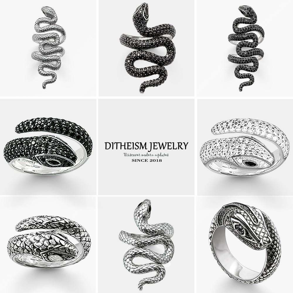 Noir CZ serpent bandes de mariage anneaux, 2018 nouveau 925 en argent Sterling bijoux de mode à la mode fête cadeau pour les femmes filles