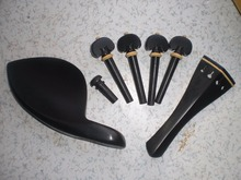 10 Sets Ebony Violin Parts and PCs Gold Color Chin rest clamp guts all 4/4
