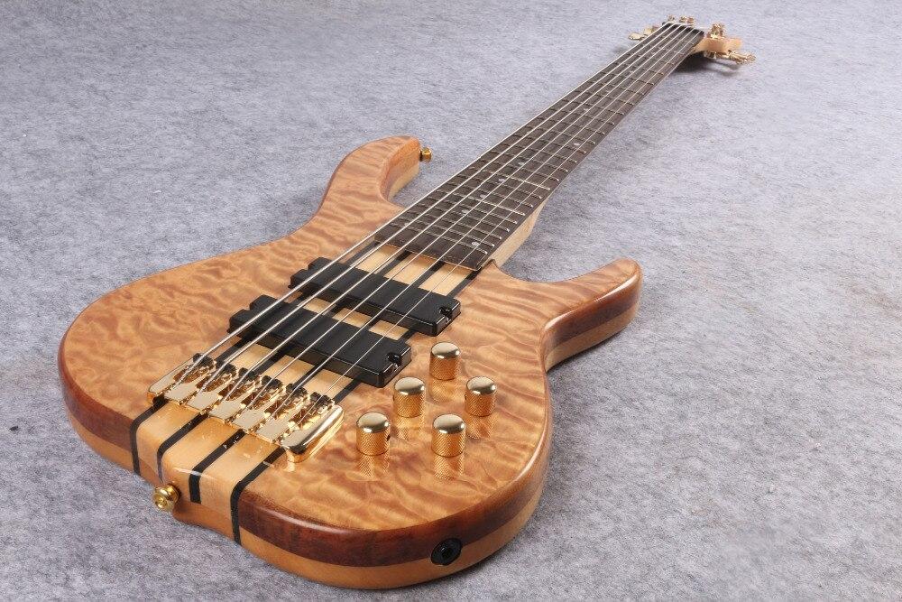 Super deluxe guitare basse électrique 6 cordes, micros actifs smith basse, matériel doré livraison gratuite