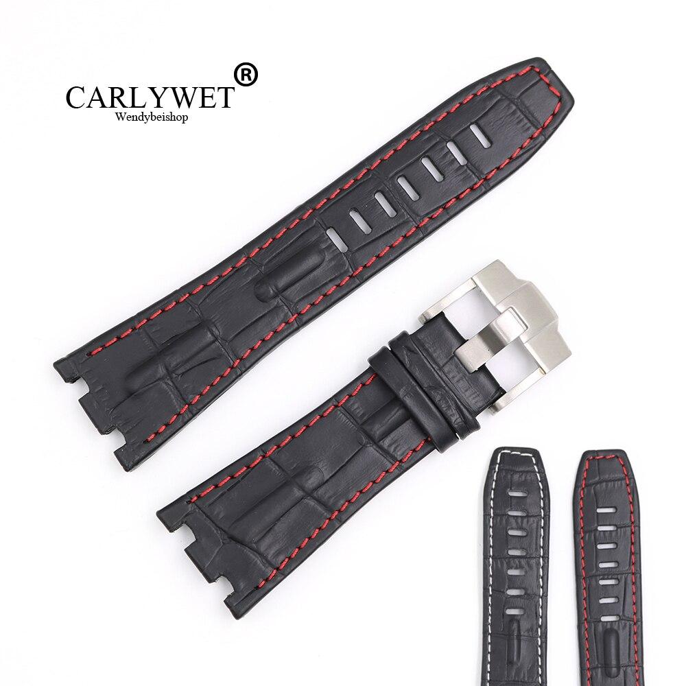 цена на CARLYWET 28mm Black Real Leather Handmade Thick Wrist Watch Band Strap Belt For Oak Offshore 42mm