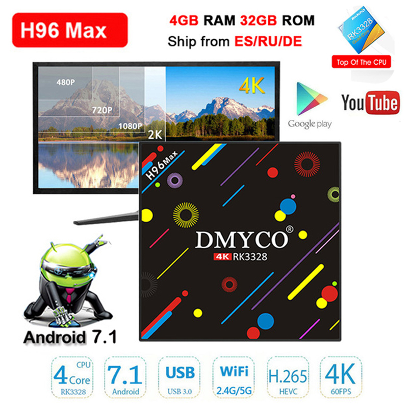 H96 MAX H2 Android 7 1 Smart TV Box 4G 32G RK3328 Quad core 2 4G