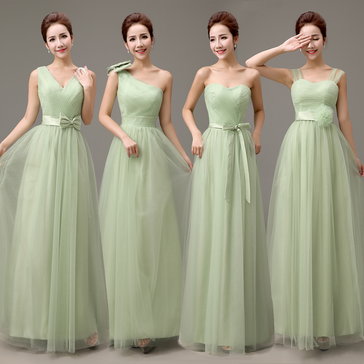 JC&STAR 2017 V neck Straps Tulle Long Mint Green Bridesmaid Dresses ...