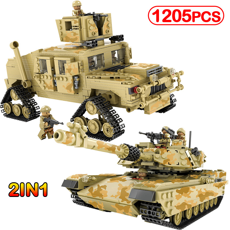 1205pcs Military M1A2 Abrams Mbt Hummer Model Building Blocks Compatible Legoinglys Hobbies Tank Collection Toys For Kids Gifts 1643 pcs kazi tank building blocks blocks m1a2 abrams mbt ky10000 creative 1 change 2 tank toys compatible legoinglys gifts