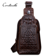 лучшая цена CONTACT'S Men's Chest Bag Genuine Leather Messenger Hand Bag Casual Sling Bag Chest Pack Man Luxury Shoulder Cross Body for IPAD