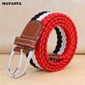 Nuevo tramo de tejido elástico cinturón de lona correa de los hombres de ocio de moda salvaje neutral con cinturón de 12 colores 110 cm-130 CM