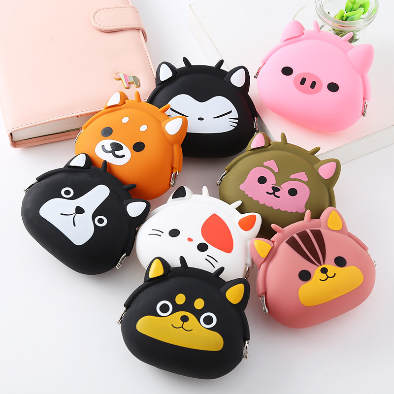 2018 New Coin Purse Mini Silicone Animal Small Coin Purse Lady Key Bag Purse Children Gift Prize Package KinderportemonnaieLQ033