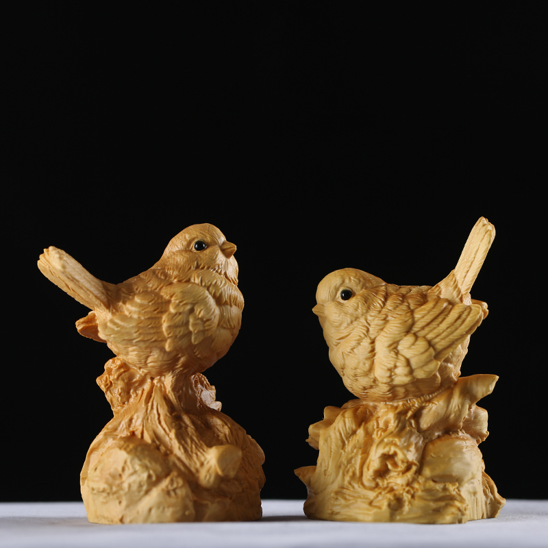 2pcs/set Chinese style Magpies cute double birds wood carving animal modern Chinese home decor house peace wooden gift ornaments