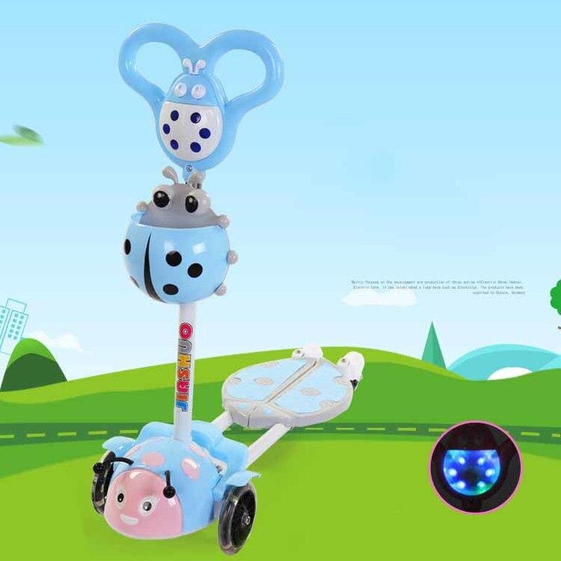 4 roues coup de pied ciseaux Scooter enfants Scooters hauteur réglable enfants Scooter vélo avec lumière LED roues enfants monter sur la voiture
