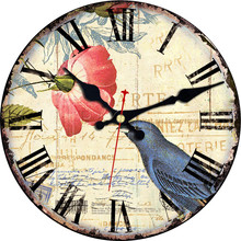 WONZOM Birds Design Flower Wall Clock Cheap Relogio De Parede Large Silent For Living Room Saat Home Decoration Watch Wall Gift