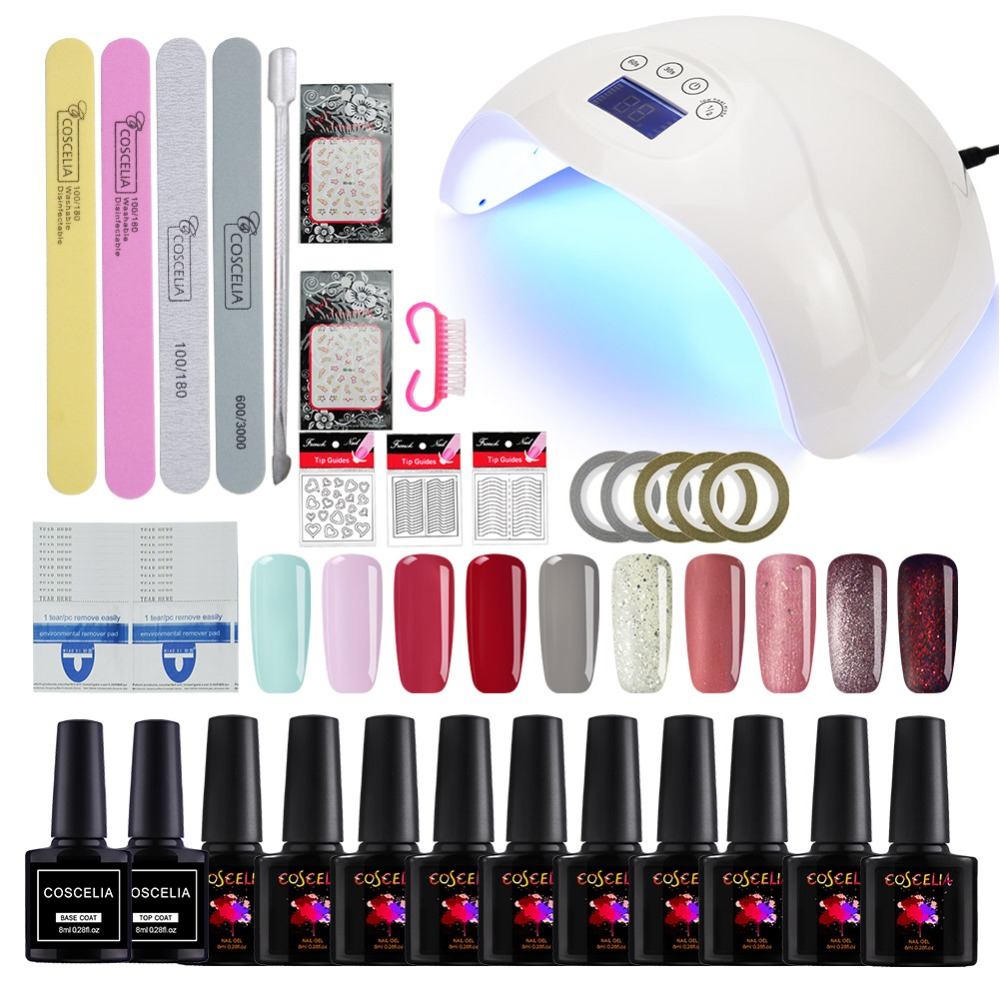 Coscelia Nail Set For Manicure Extension Uv Gel Kit 48w Led Lamp 10