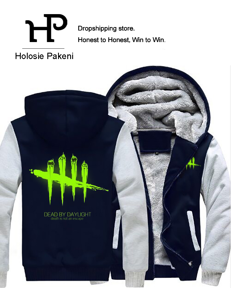 Dropshipping Game Dead by Daylight Luminous Mens Hoodies Zipper Sweatshirt Jacket Winter Warmth Fleece Thicken Jacket Coat