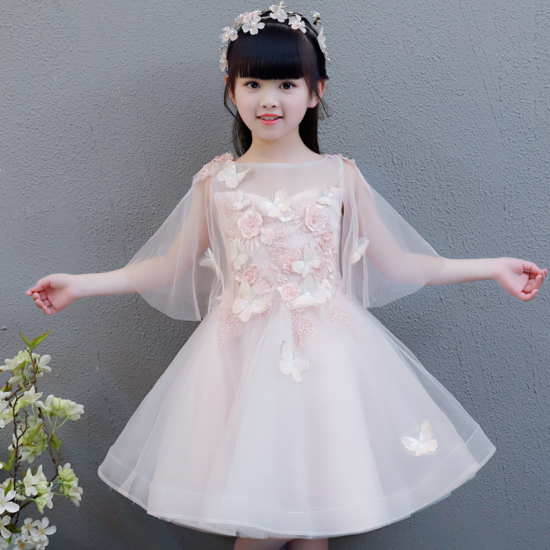 New Summer Sweet Pink Children Kids Princess Flowers Dresses Formal Party Wear Dress For Baby Girl Birthday Wedding Party Dress
