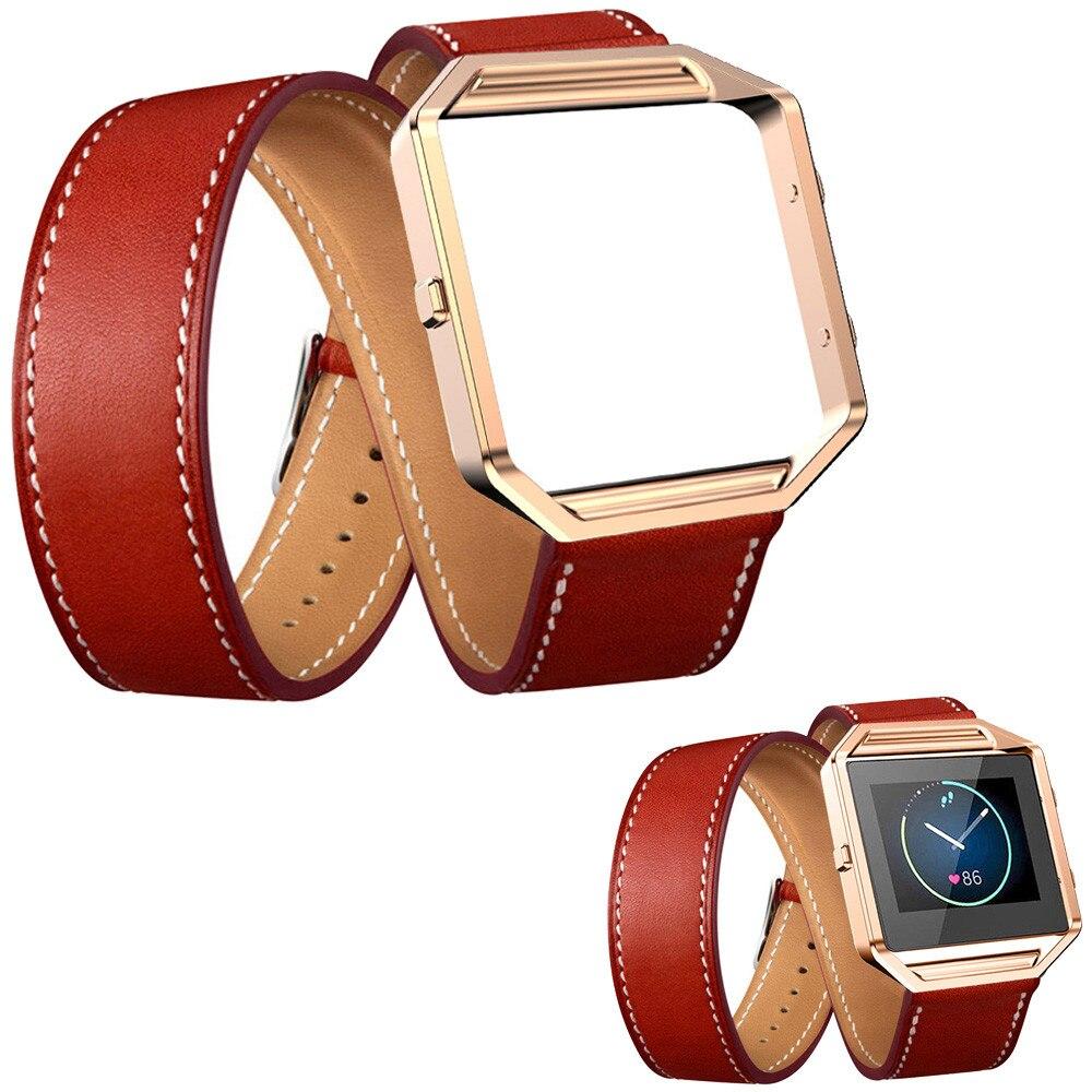 1705b0600df Nova Moda Colorido Faixa de Relógio de Couro Longo Duplo Anel Watch Band  Strap + Armação de Metal Para Fitbit Relógio Chama