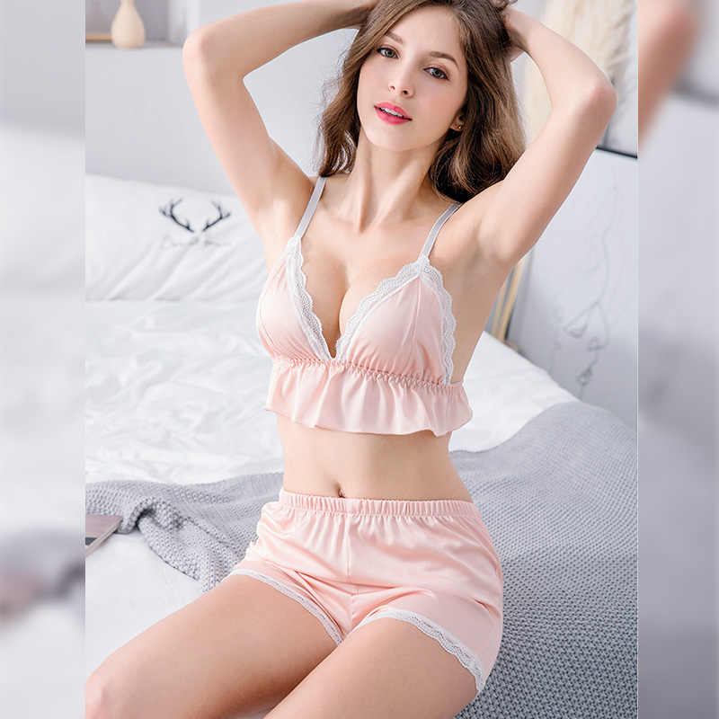 Perfering Sexy Sleeveless Vest + Shorts Set Nightgown Lingerie V-Neck Vest Short Bra Set Women Pajamas Nightwear Sleepwear Lady