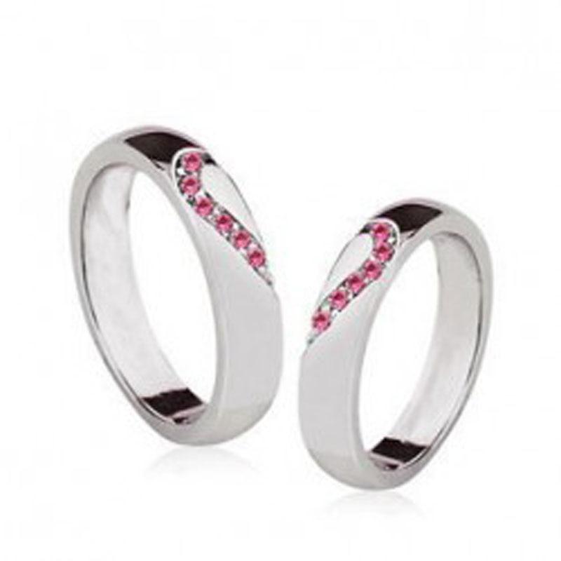 Fashion 18K white gold Lovers design austria crystal heart lovers ...