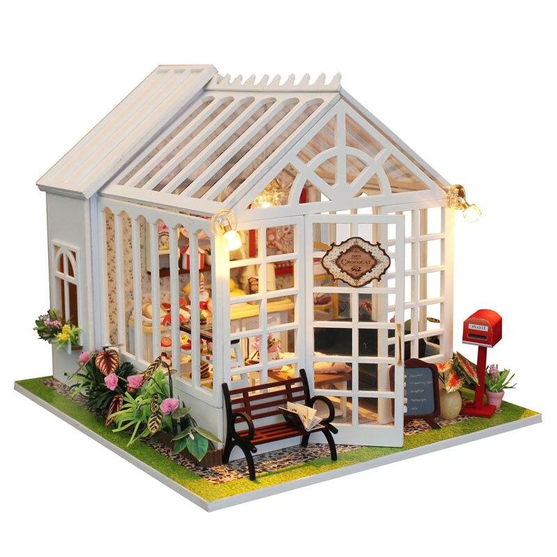 Puppenstuben & -häuser 2 Set DIY Miniatur Puppenhaus Kit LED Licht Weihnachten Geburtstagsgeschenk