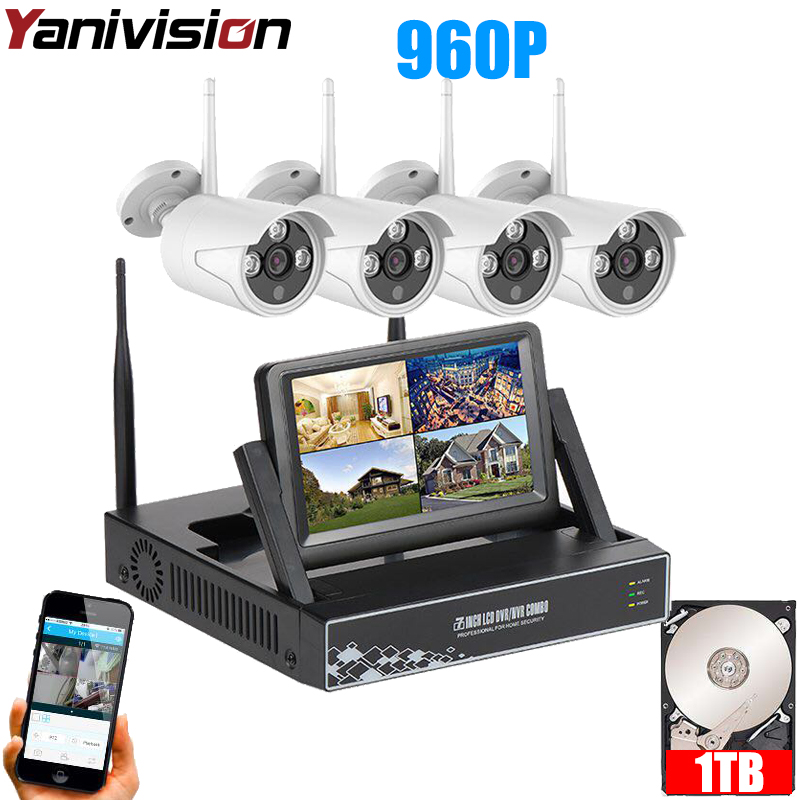Wireless Surveillance Camera System 7 Inch LCD Display 4CH Wifi NVR P2P 20m IR Night Vision 960P HD Wireless CCTV System Wifi 10 lcd monitor wireless nvr with 4pcs 720p wireless camera make up wireless surveillance system easy instal and easy use