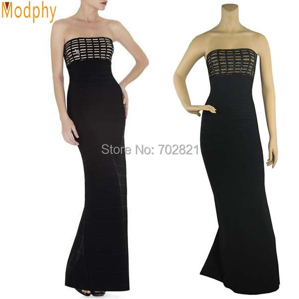 Black Long Bandage Dress off the shoulder Strapless Ankle Length Novelty Prom Party Club Clothing Patchwork