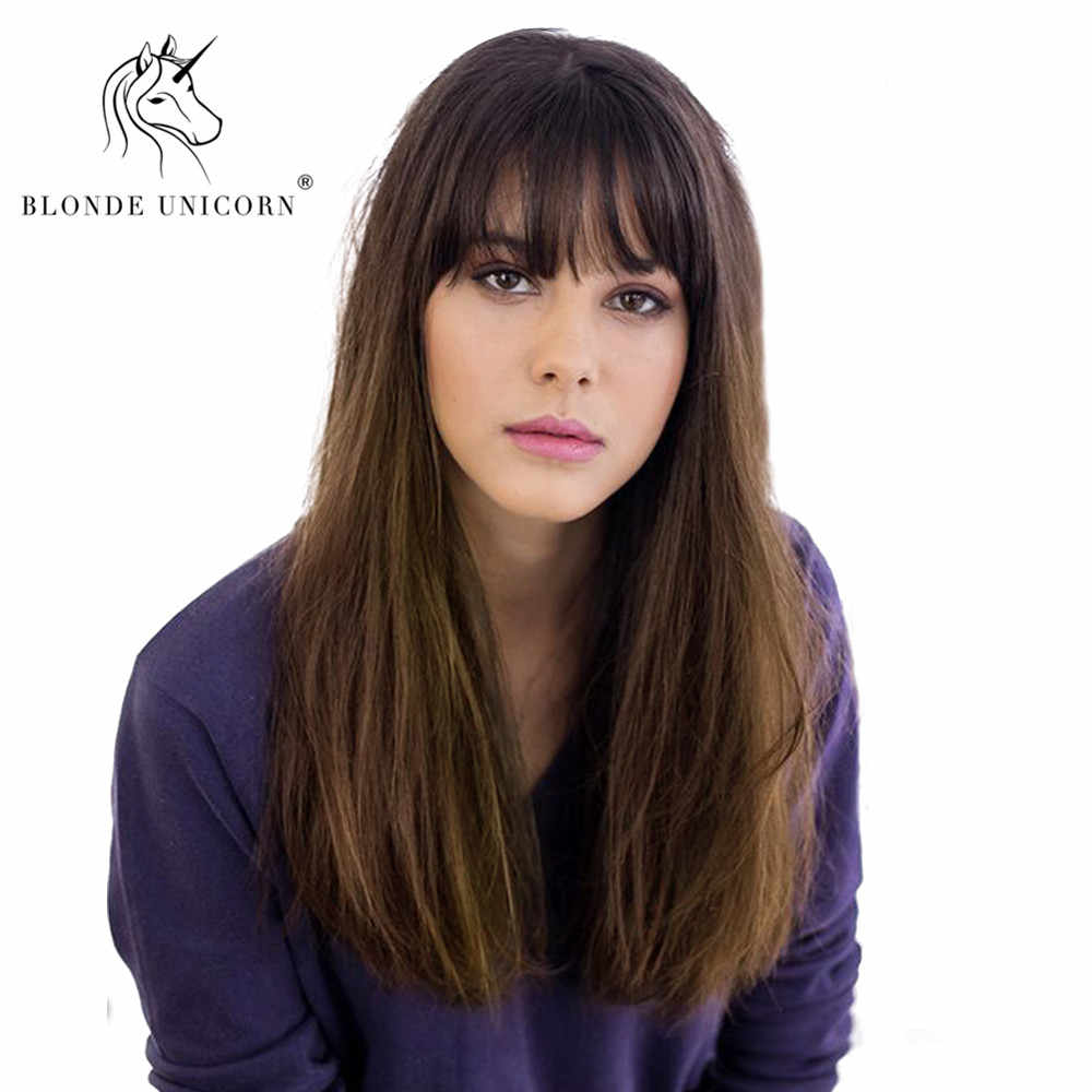 "Blonde Unicorn Synthetic 18"" Dark Roots Ombre Fashion Wig Brown Long Straight Hair Wigs with Natural Bangs for White Women"