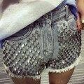 Nova Moda Verão 2016 Mulheres Shorts Jeans Selvedge Áspero Personalidade Do Punk Rebites Jeans Skinny de Cintura Alta