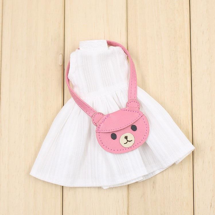 Neo Blythe Doll White Dress with Bear Bag 2