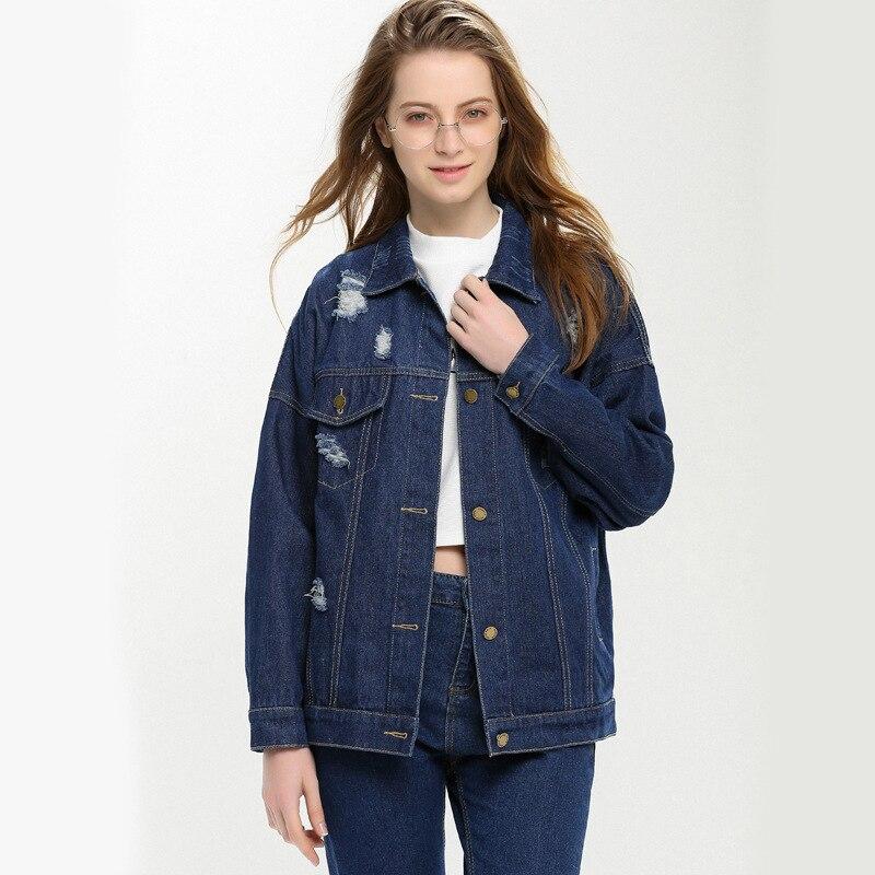 Para mujer estilo bf suelta rasgado agujero denim chaquetas abrigos otoño street