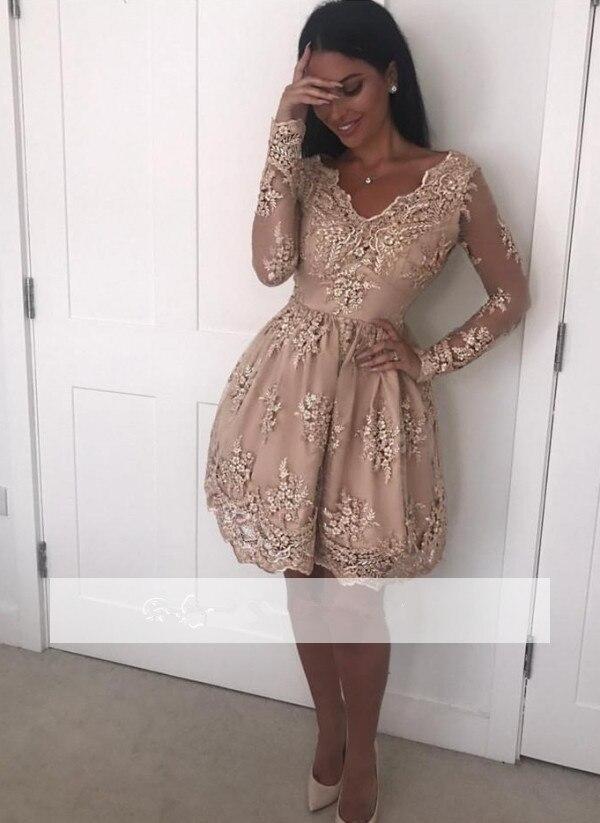 Diszipliniert 2019 Elegante Cocktail Kleider Mantel V-ausschnitt Short Mini Appliques Spitze Perlen Party Plus Größe Homecoming Kleider Abschlussballkleider
