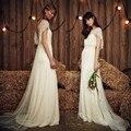 Сексуальная Спинки Свадебные Платья Бич Boho Бисером Блестки Свадебные Платья 2017 Новых Прибытие vestido де novia высокое качество