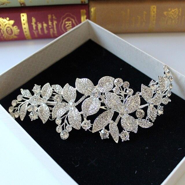 Сплав ринстоун невесты фронтлет Корона индийские головные уборы, свадебные прически аксессуары bijoux cheveux