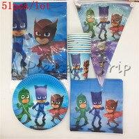 51pcs Lot Children S Shower Tissue Supplies Birthday Party Decoration Package Boys Girls Like Pj Mask