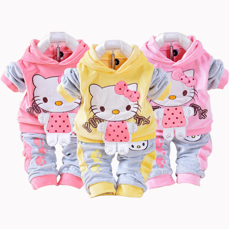 New Hello Kitty Girls Baby's Sets Spring Cartoon Velvet Long Sleeve Children Hoodies Pants 2 Pieces Velour Suit Kids Clothing new 2017 autumn baby kids set velvet hello kitty cartoon t shirt hoodies pant twinset long sleeve velour children clothing sets