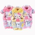 Nova Olá Kitty Meninas do bebê Define Primavera Dos Desenhos Animados de Veludo de Manga Longa Crianças Hoodies Calças 2 Peças Terno De Veludo Crianças roupas
