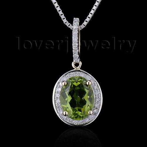 Août nouveau fantaisie ovale 7x9mm 14Kt or jaune naturel diamant péridot pendentif de mariage E2