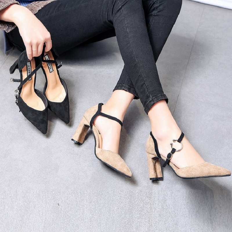 2018 New Spring suede pointed high heels coarse heel shoes hollow Korean word buckle job shoes female