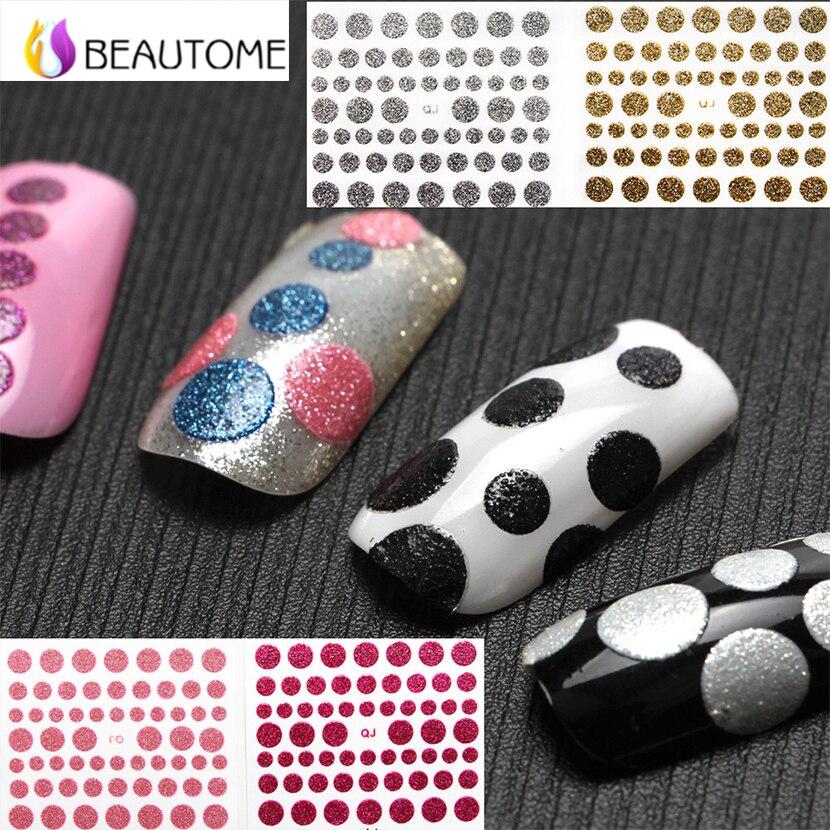 1 Sheet Polka Dot Glitter Shine Nail Art Stickers Decals 10 Colors ...