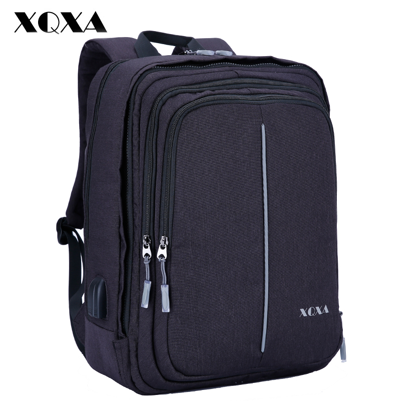 XQXA Men Laptop Backpack 15.6 17.3 Inch Anti-theft USB Charging Travel Backpack for Man Casaul Daypack Mochila Rucksack Black 17 inch laptop backpack men usb charging nylon camouflage travel backpack computer bag headphone hole rucksack daypack notebook