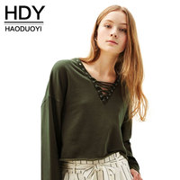 HDY Women T-shirts V-neck Lace-up Crop Tops Sequined Lady Loose Causal Shirts Streetwear Pullovers Plus Size Amry Green