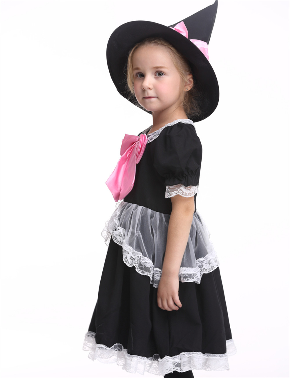 Children Girls Witch Costume Halloween Costume For Kids Stage & Dance Wear Toddler Short Sleeve Party Cosplay Skirt Black