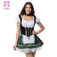 Corzzet Beer Girl Oktoberfest Halloween Costumes For Women Cospaly Beer Maid Plus Size Fancy French Maid Dresses
